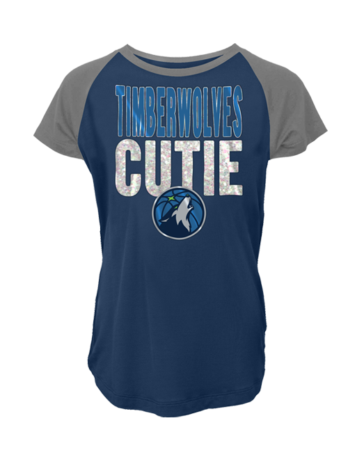 Minnesota Timberwolves Youth Girls Raglan Scoop Neck T-Shirt