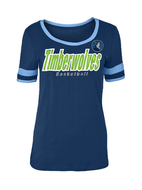 Minnesota Timberwolves Women's Jersey Stripes Sleeves T-Shirt