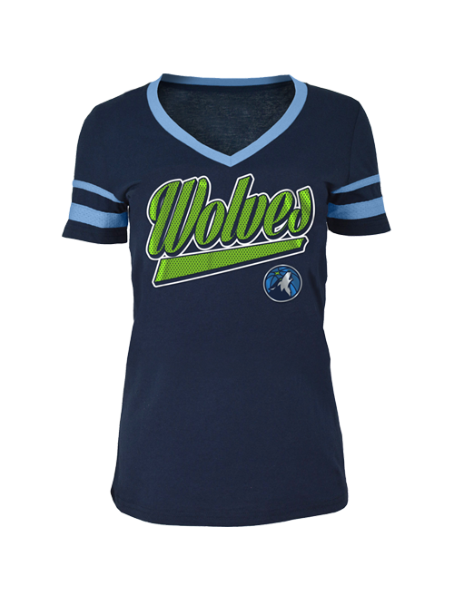 Minnesota Timberwolves Women's Baby Jersey Mesh Stripes T-Shirt - Timberwolves Team Store