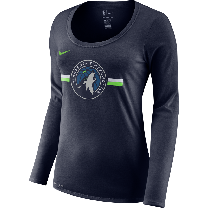 Minnesota Wolves Women's Dri-Fit Logo Stripe Long Sleeve T-Shirt - Timberwolves Team Store