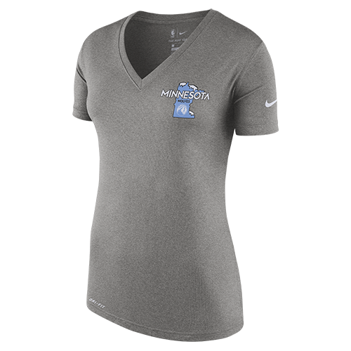 Minnesota Timberwolves Women's City Edition Minnesota V-neck Tee - Grey