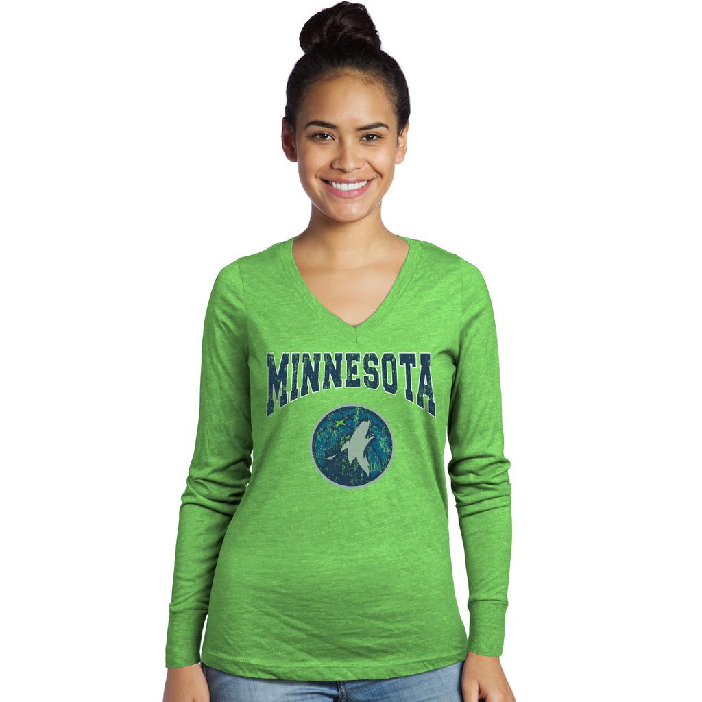 22c7ee0e3804 Minnesota Timberwolves Women s V-Neck Triblend Long Sleeve Shirt