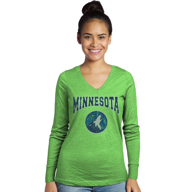 Minnesota Timberwolves Women's V-Neck Triblend Long Sleeve Shirt