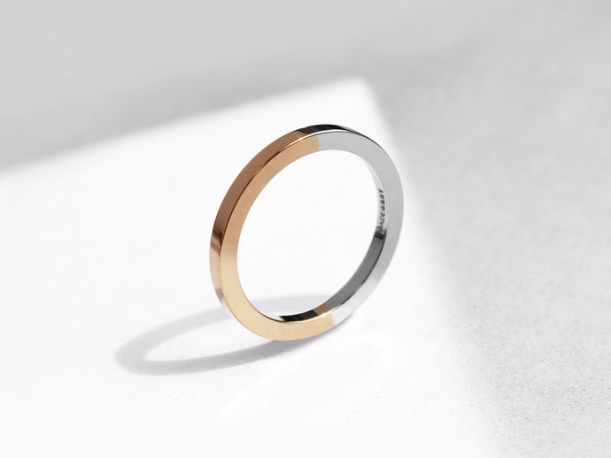 Two Tone Minimal Ring | Polished Rose Gold