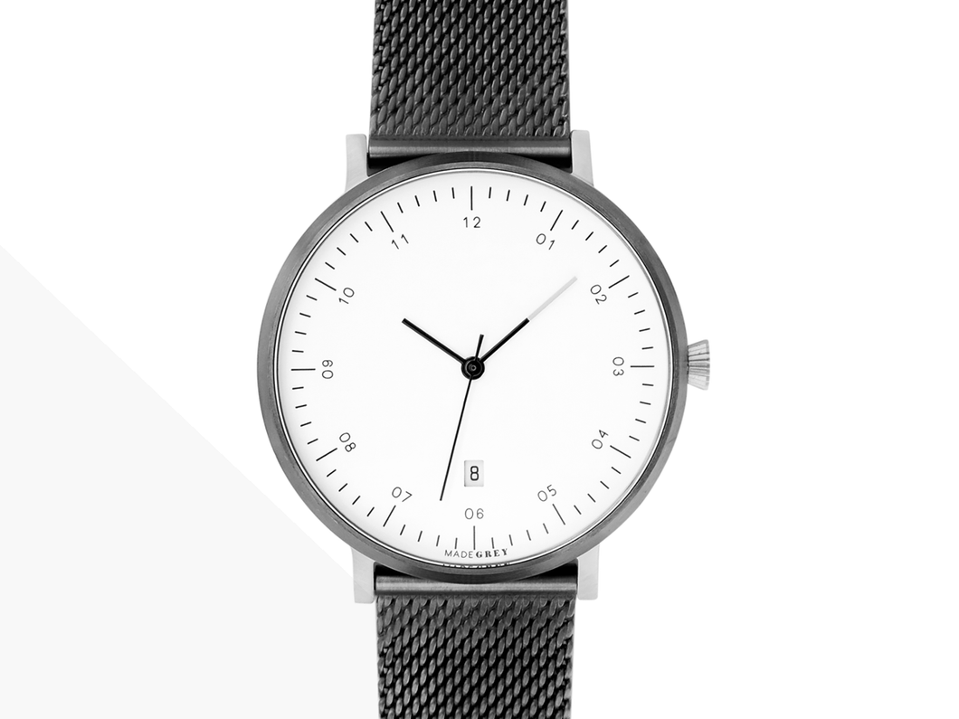 FREE ENGRAVING! GREY x SILVER MG001 WATCH