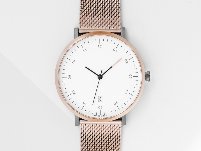 FREE ENGRAVING! ROSE GOLD x GREY MG001 WATCH