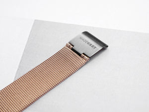 GREY x ROSE GOLD MG002 | MESH+LEATHER STRAP SET