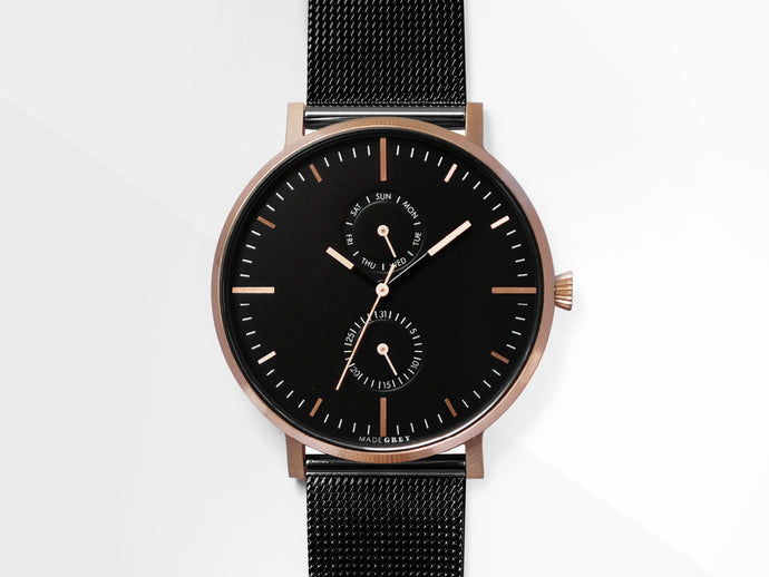 ROSE GOLD x BLACK MG002 | MESH+LEATHER STRAP SET