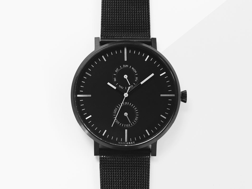 BLACK MG002 | MESH+LEATHER STRAP SET