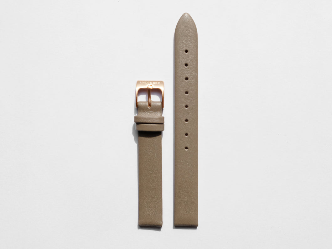 MG003 Mini Leather Watch Strap | Grey x Rose Gold