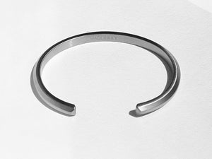 Wide Bevel Cuff Bracelet | Brushed Stainless Steel