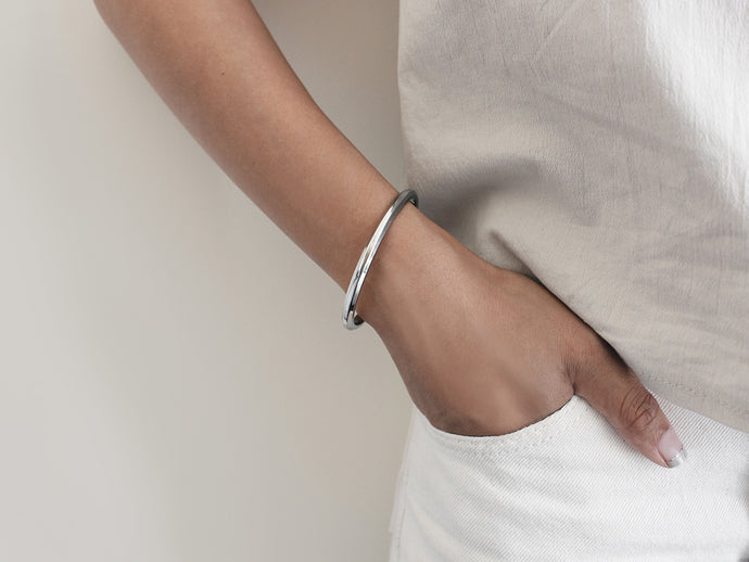 Wide Bevel Cuff Bracelet | Stainless Steel