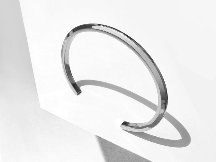 Thin Bevel Cuff Bracelet | Stainless Steel