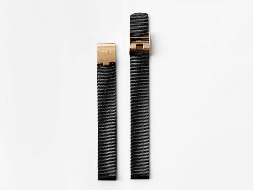 MG003 Mini Steel Mesh Watch Strap | Black x Rose Gold