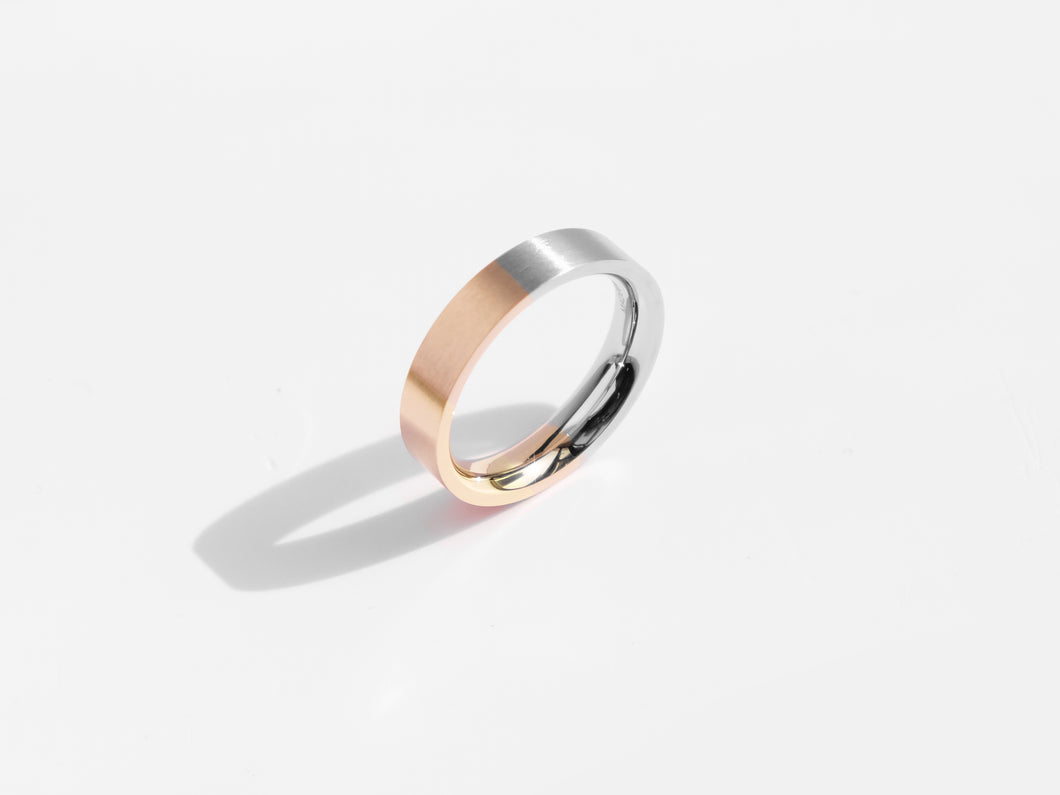 Brushed Two-Tone Ring | Rose Gold