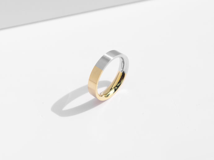 Brushed Two-Tone Ring | Gold