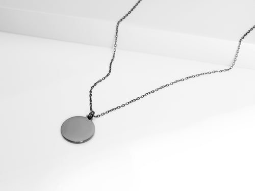 FREE ENGRAVING! Disc Necklace |  Dark Grey