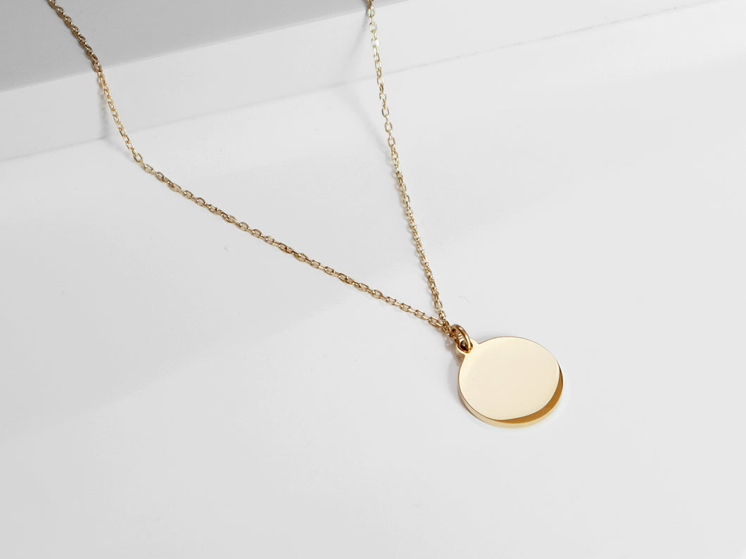 FREE ENGRAVING! Disc Necklace |  Gold