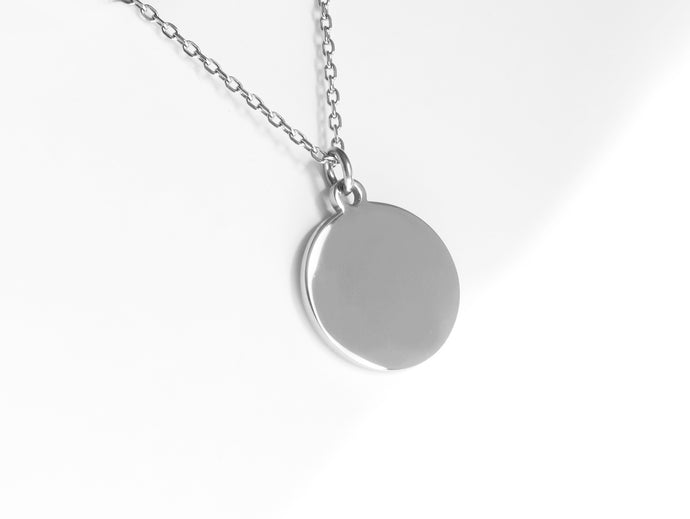 FREE ENGRAVING! Disc Necklace |  Silver
