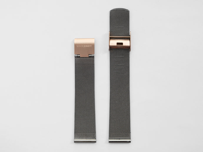 MG003 Max/MG002 Steel Mesh Watch Strap | Grey x Rose Gold