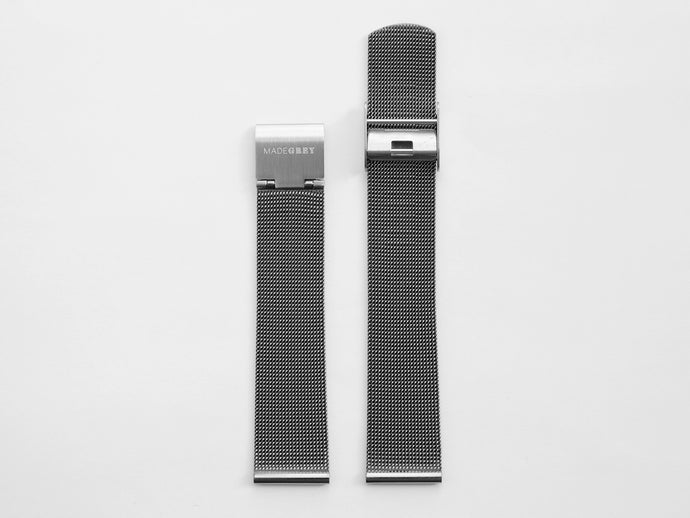 MG003 Max/MG002 Steel Mesh Watch Strap | Grey x Silver