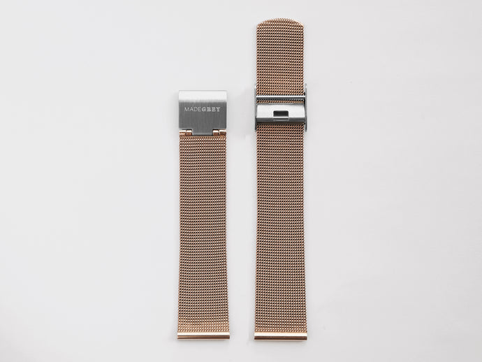 MG003 Max/MG002 Steel Mesh Watch Strap | Rose Gold x Silver
