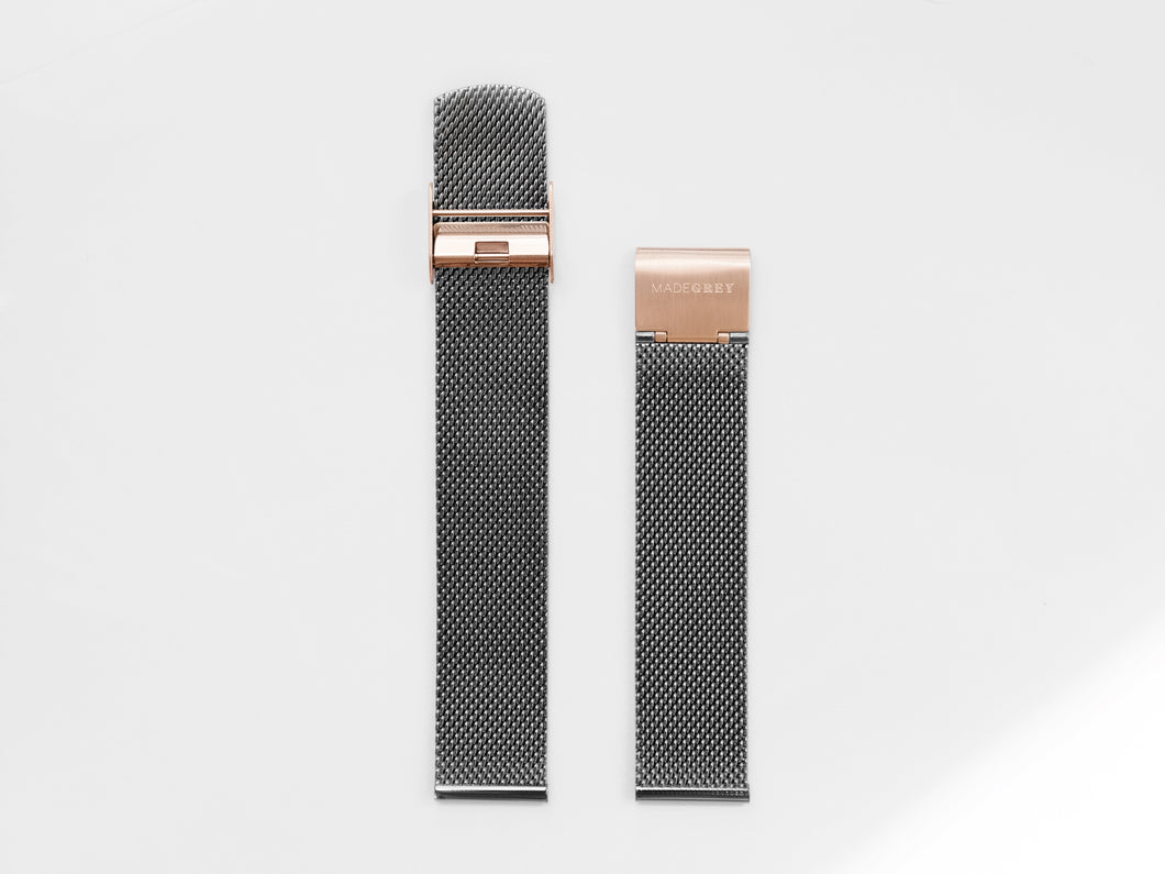 MG003 Max+ Mesh Watch Strap | Grey x Rose Gold