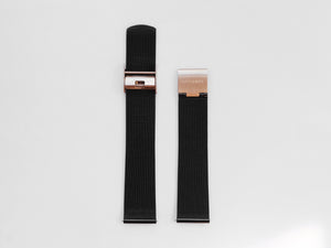 MG002 Mesh Watch Strap | Black x Rose Gold