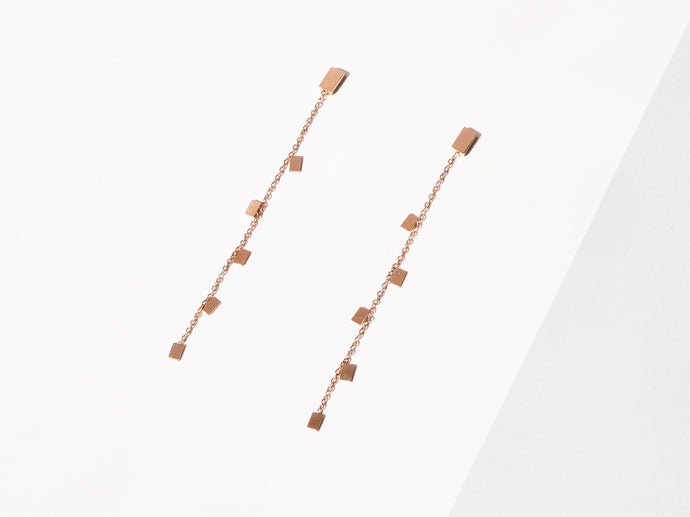 Mini Rectangle Earrings | Rose Gold