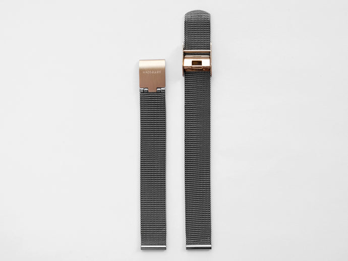 MG003 Mini Steel Mesh Watch Strap | Grey x Rose Gold