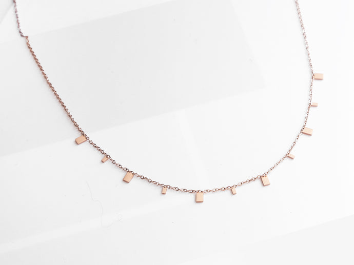 NEW! Mini Rectangles Necklace |  Rose Gold