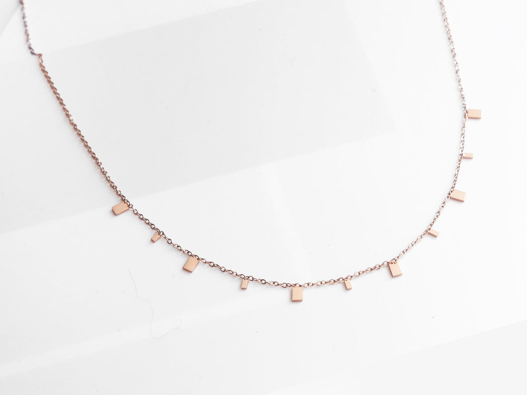 Mini Rectangles Necklace |  Rose Gold