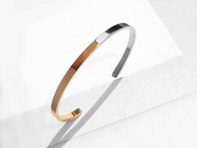 Two Tone Minimal Cuff Bracelet | Polished Rose Gold