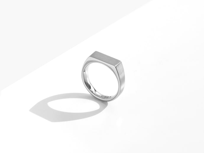 Dual Texture Signet Ring | Silver
