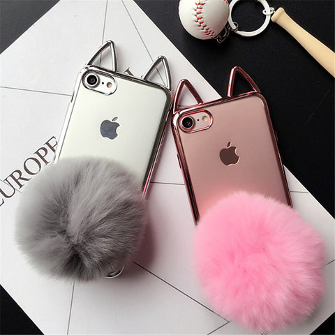1bf50ad538 Fluffy Cat Ear Cover For iPhone – Pawpalz