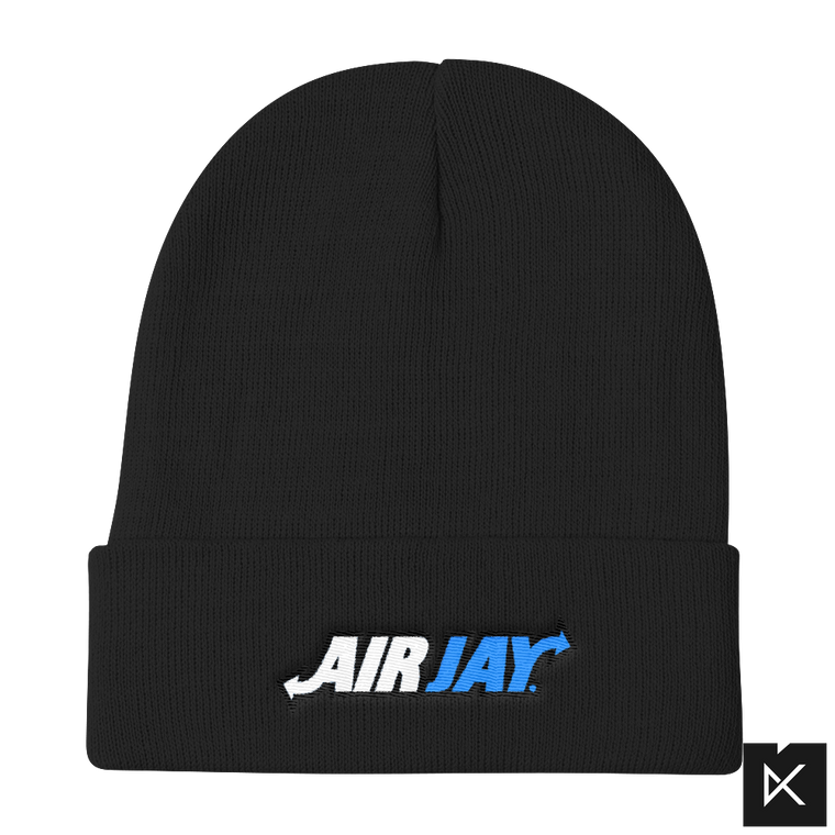 AirJay Blue and White on Black Knit Beanie