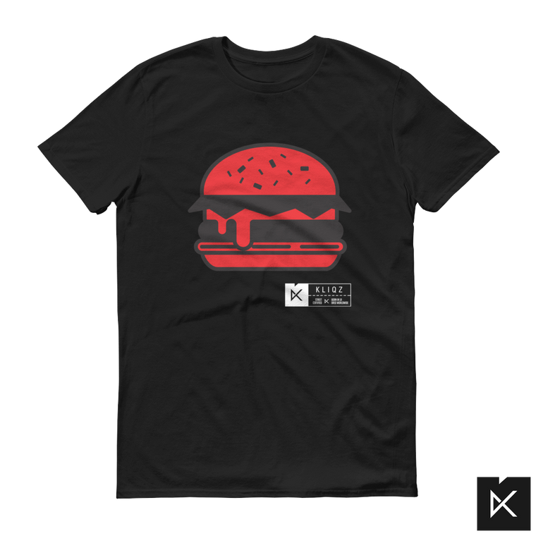 Burger Red on Black Tee