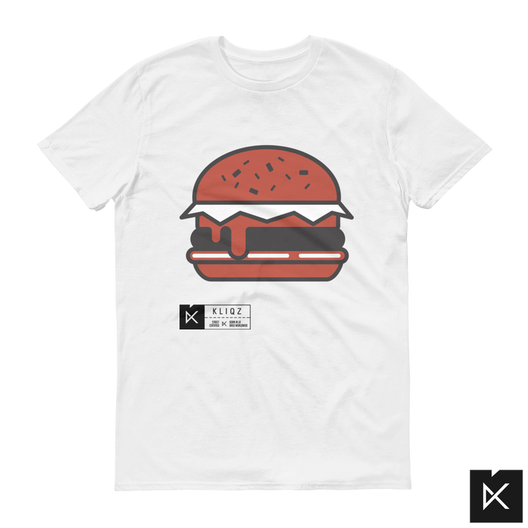 Burger Red White on White Tee