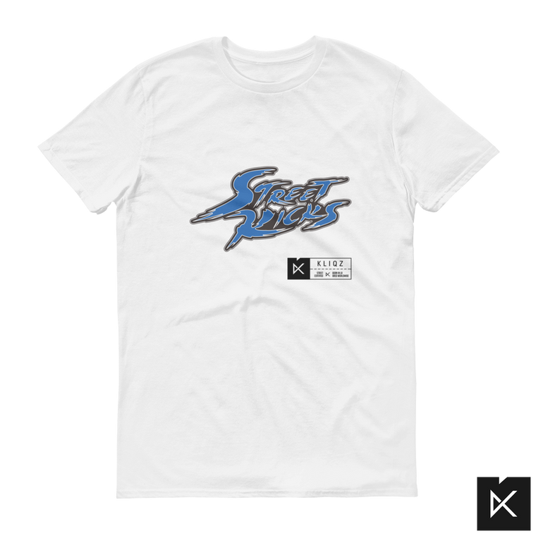 Street Kicks Blue on White Tee