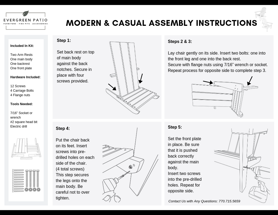 Assembly Instructions for evergreen patio Modern Adirondack Chair and Casual