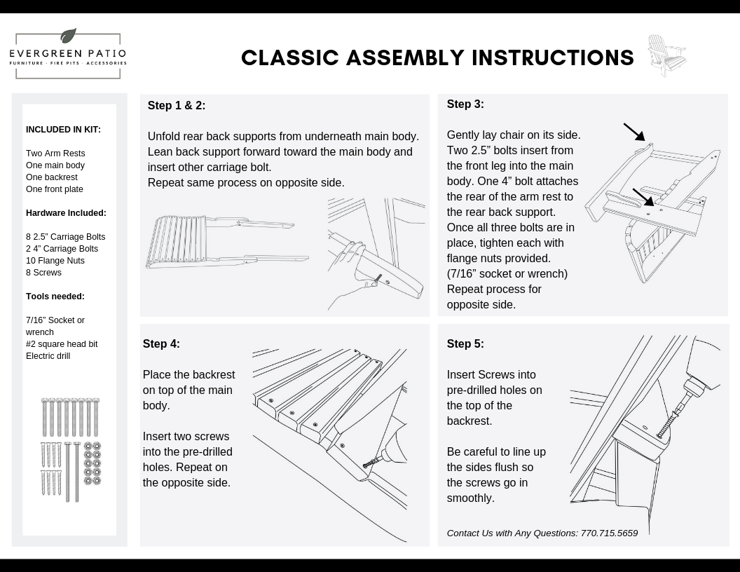 Classic Evergreen Patio Assembly Instructions