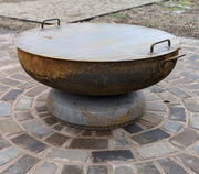 "36"" Heavy Duty Fire Pit on Base - Evergreen Patio"
