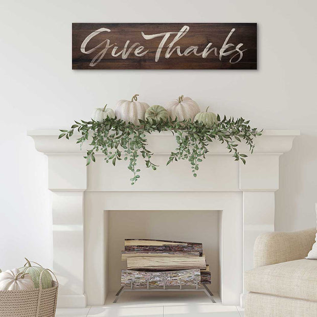 40 x 10 Give Thanks Walnut Slatted Sign