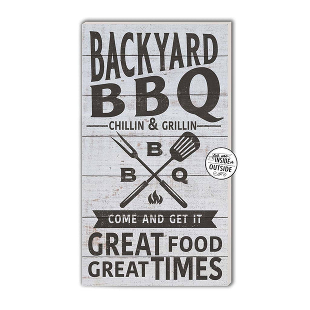 "11"" x 20"" Backyard BBQ Whitewash Indoor/Outdoor Sign"