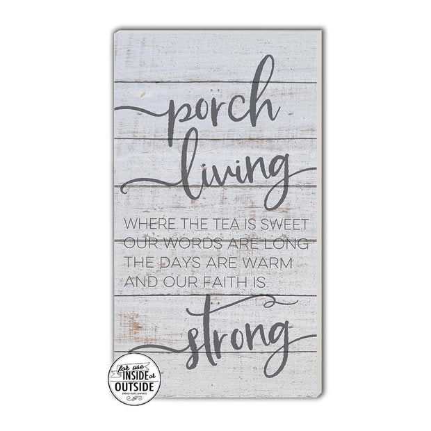 "11"" x 20"" Porch Living Whitewash Indoor/Outdoor Sign"