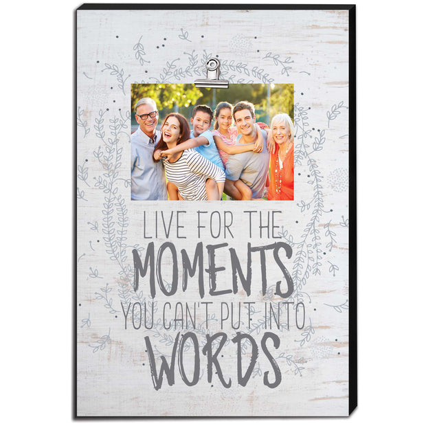 "12"" x 18"" Live For The Moments Canvas Clip Picture Frame"