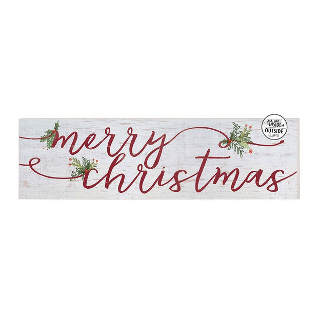 "35"" x 10""Merry Christmas Whitewash Indoor/Outdoor Sign"