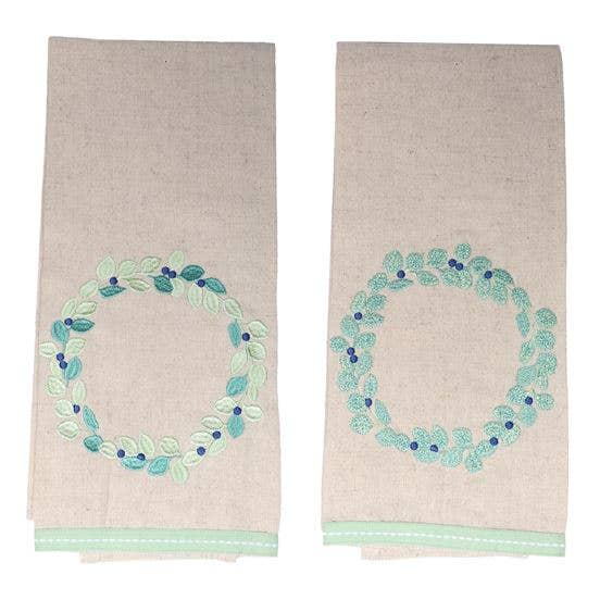 Eucalyptus Embroidered Dish Towel