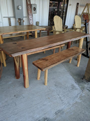 Outdoor dining table and bench set - Evergreen Patio