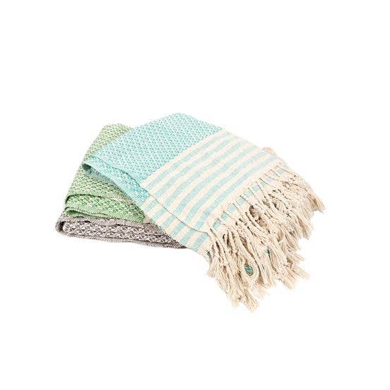 Stripe Woven Throw with Braided Tassel